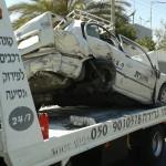 גרירה של מונית לאחר תאונה קשה